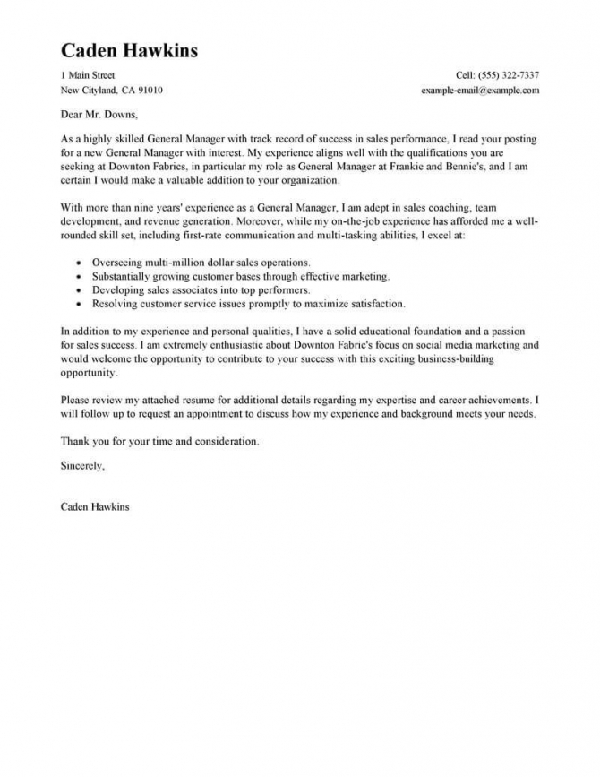Best Sales General Manager Cover Letter Examples