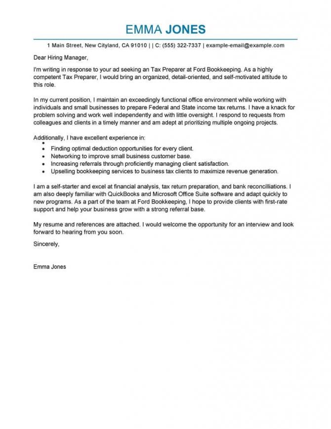 Best Tax Preparer Cover Letter Examples