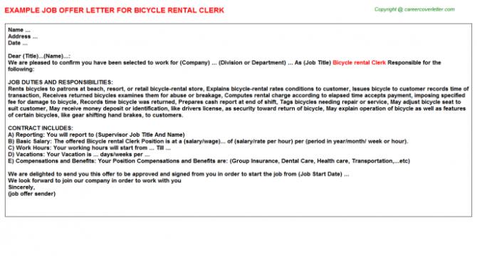 Bicycle Rental Clerk Offer Letter