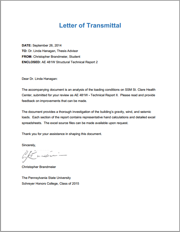 Letter Of Transmittal For Technical Report
