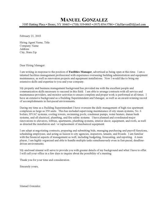 Building Supervisor Cover Letter Sample