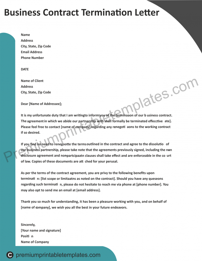 Business Contract Termination Letter Pack Of