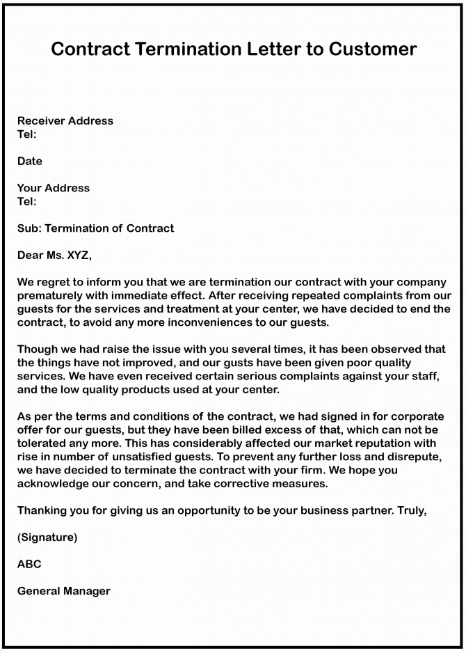 Business Contract Termination Letter Template In