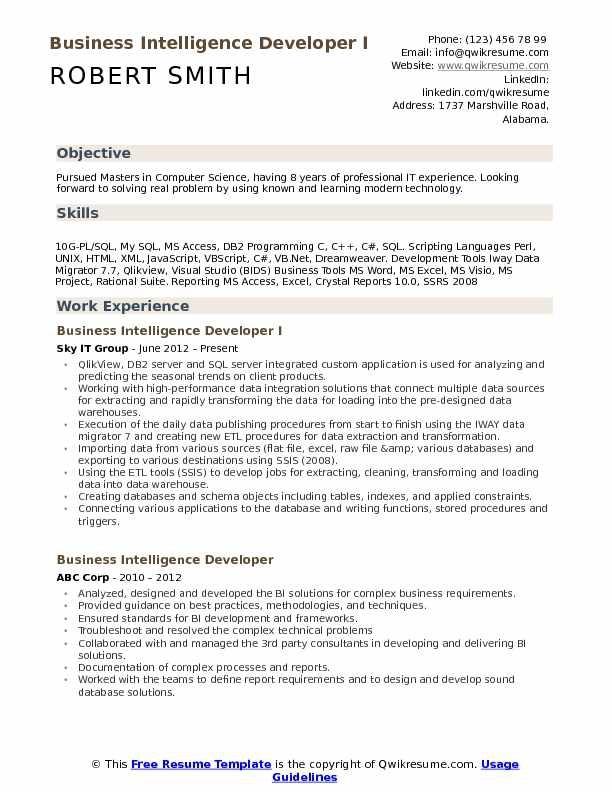 Business Intelligence Developer Resume Samples