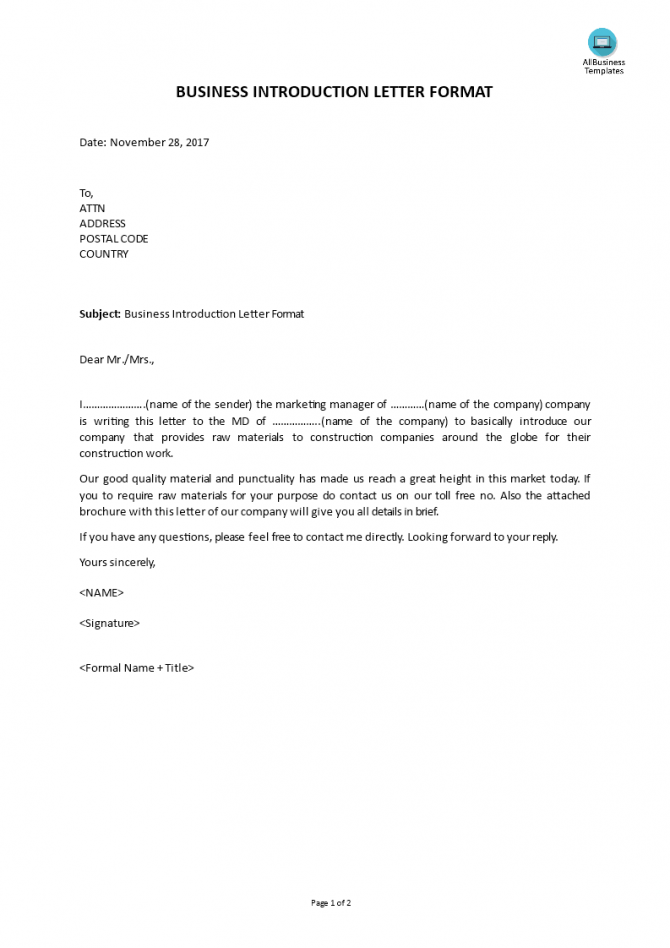 Business Introduction Letter Format Construction Company