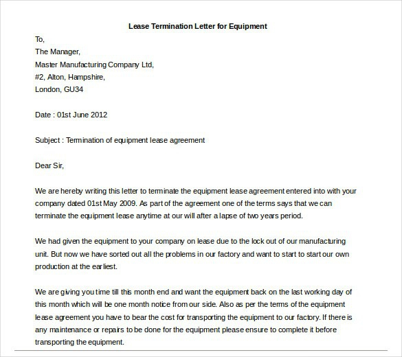 Business Lease Termination Letters  News