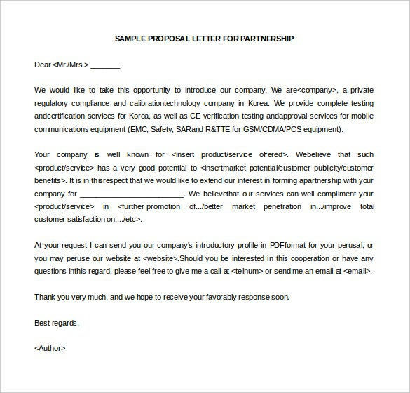 Business Letter Of Intent Templates