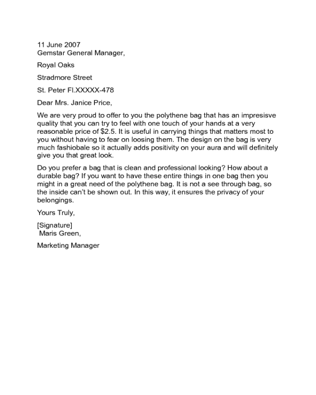 Business Marketing Letter Sample