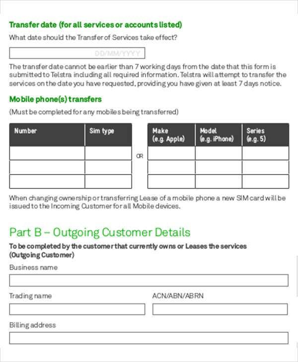 Business Transfer Letter Template