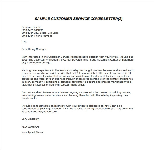 By Email Cover Letter Format