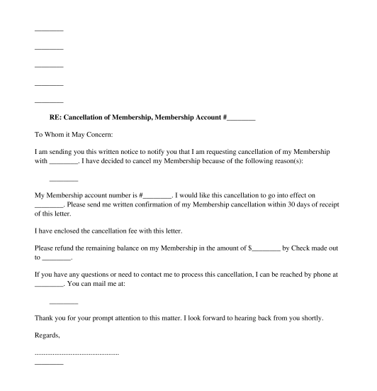 Cancellation Letter Subscription  Membership