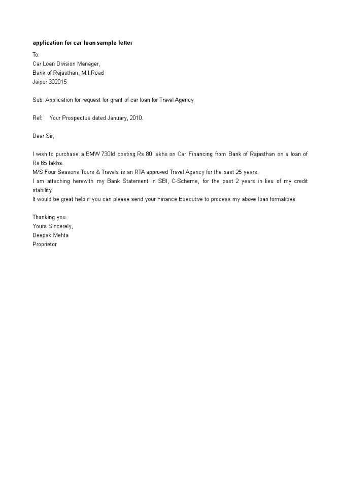Car Loan Application Letter