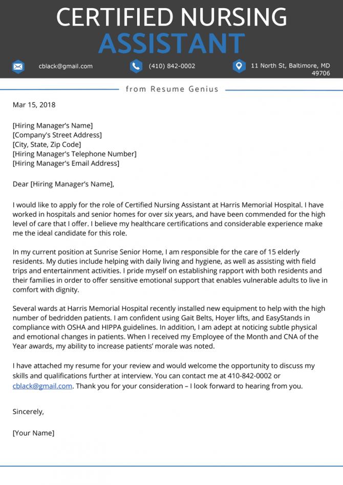 Certified Nursing Assistant Cna Cover Letter