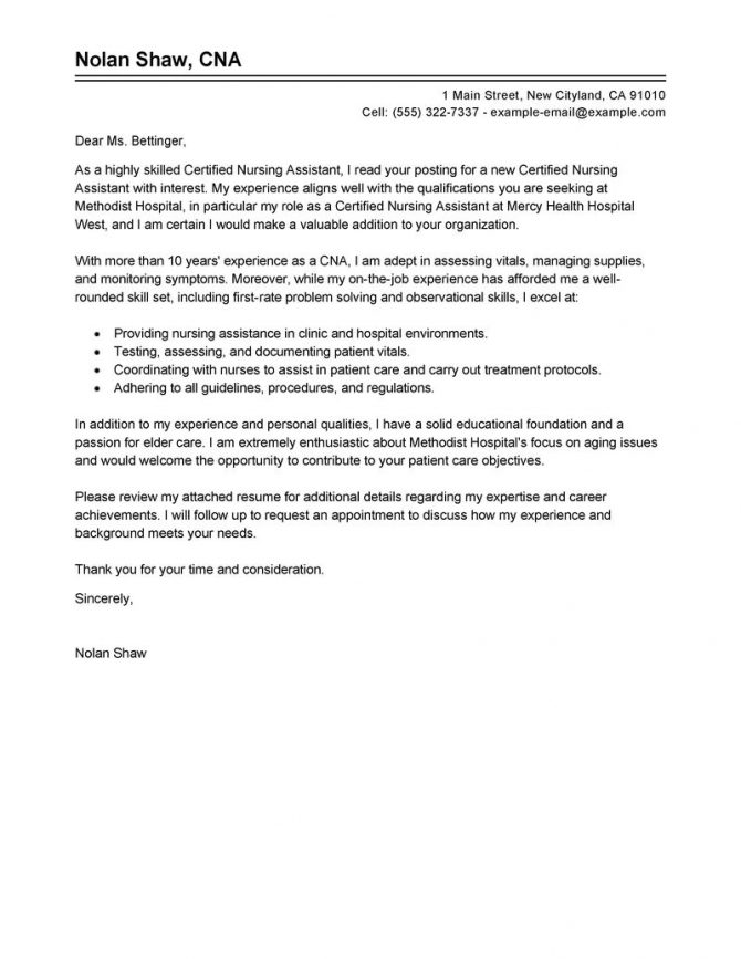 Certified Nursing Assistant Cover Letter Example