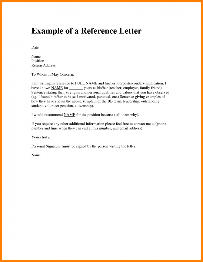 Character Reference Letter For A Friend