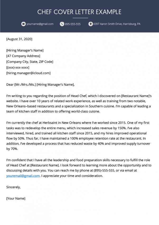 Chef Cover Letter Example Free Download