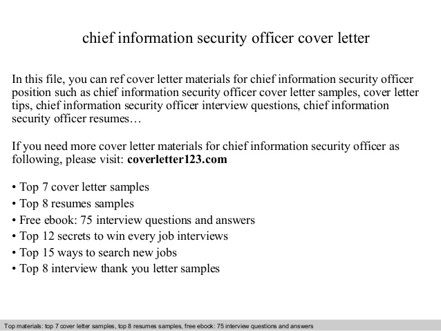 Chief Information Security Officer Cover Letter