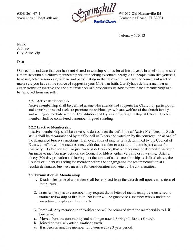 Church Membership Termination Letter