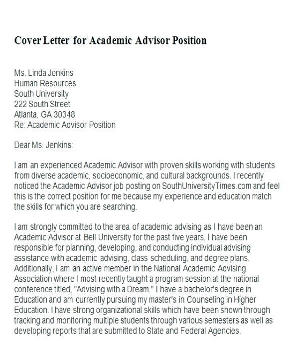 College Advisor Cover Letter Collegeadvisorcoverletter