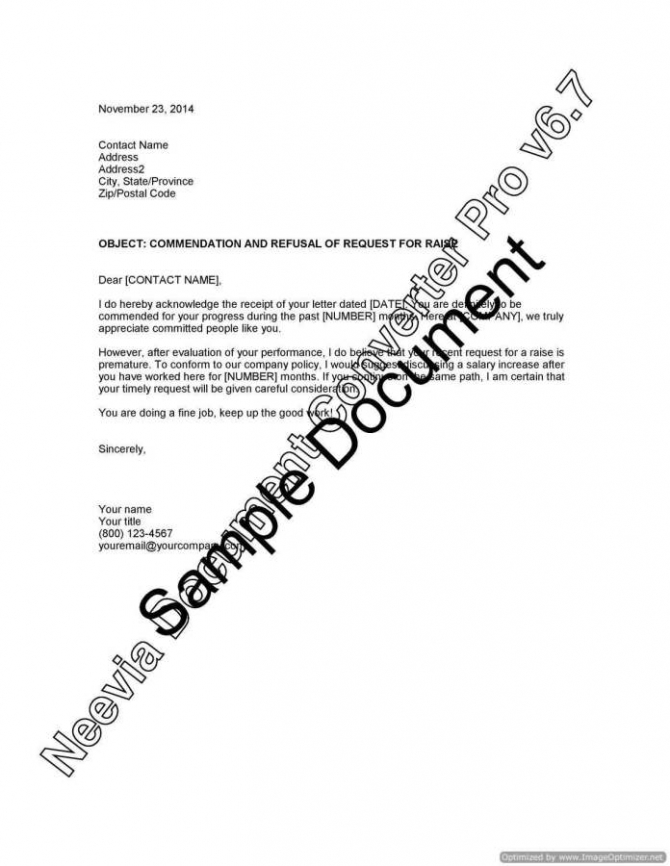 Commendation And Refusal Of Request For Raise
