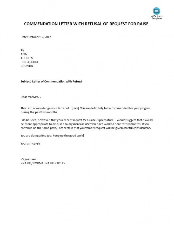 Commendation Letter With Refusal Of Request For Raise