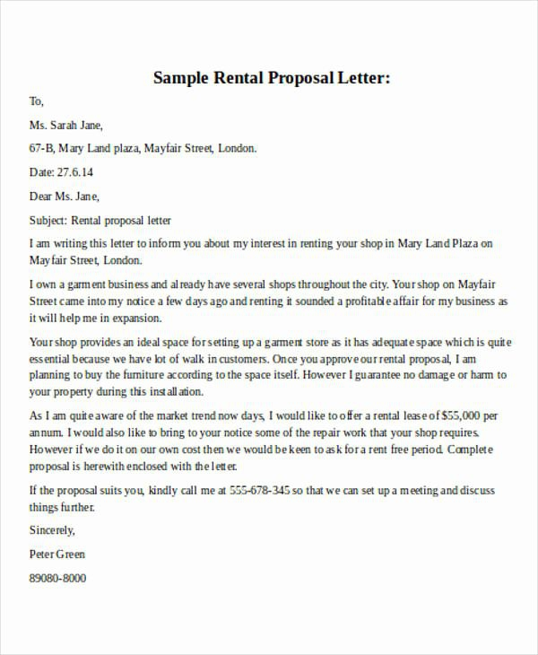 Commercial Lease Proposal Template In