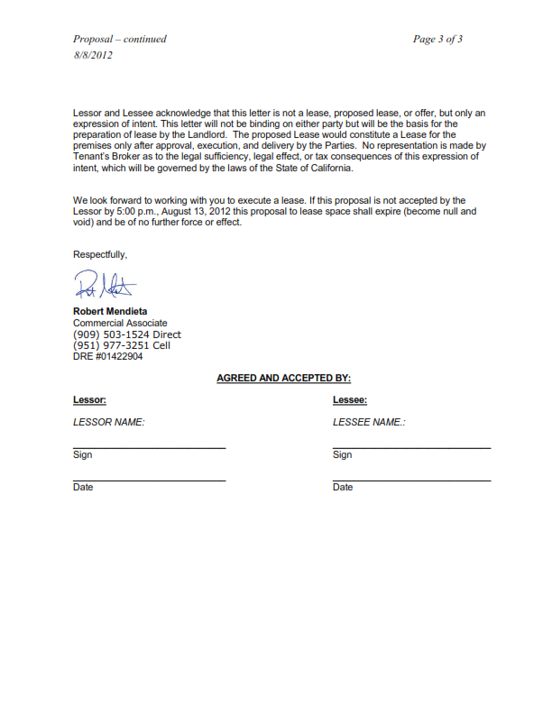 Commerical Lease Prposals