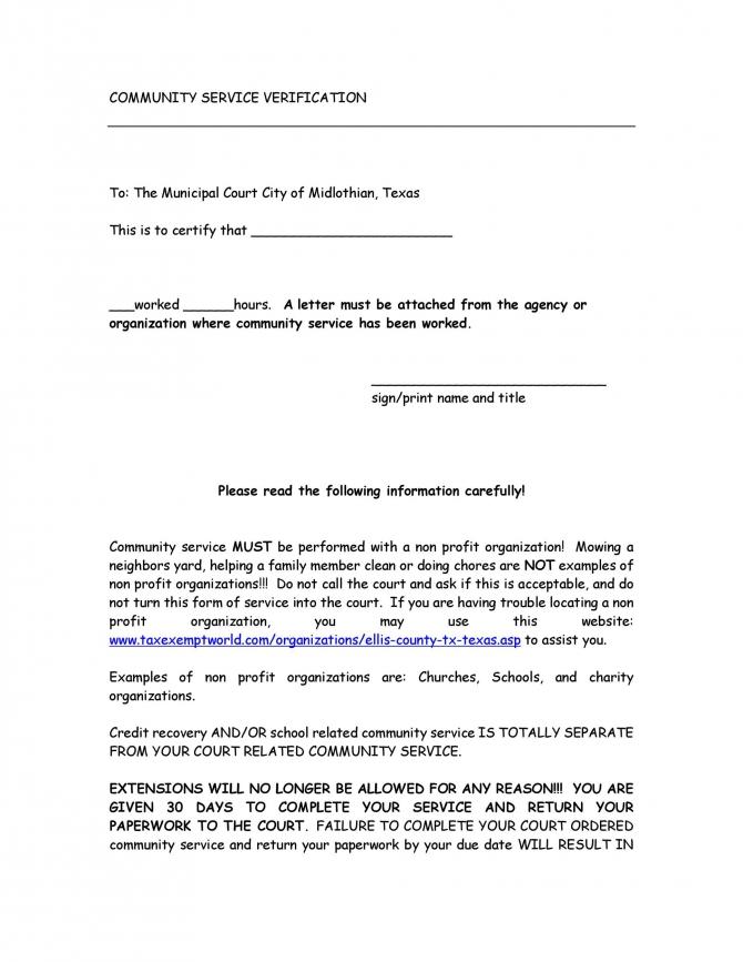 Community Service Letter