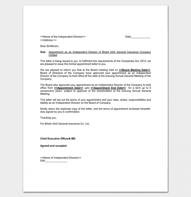 Company Appointment Letter