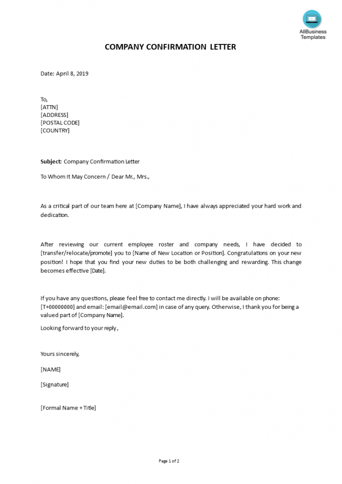 Company Confirmation Letter Form In Word