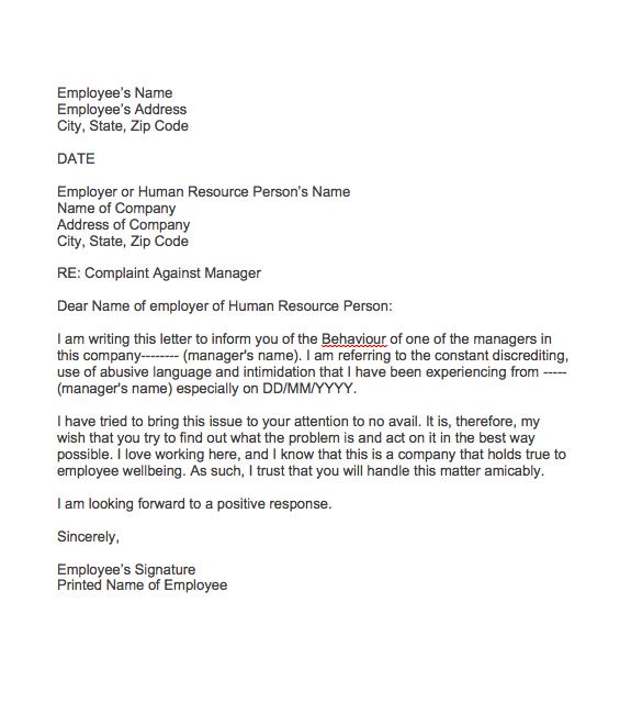 Complaint Letter About Manager Behaviour