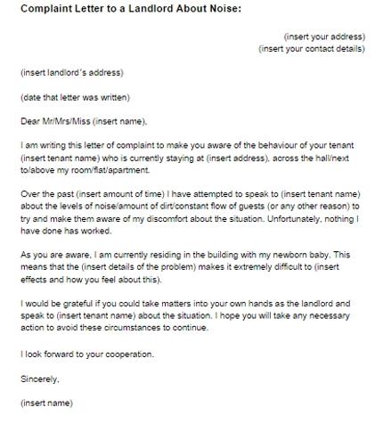 Complaint Letter To Landlord Concerning Noise Sample