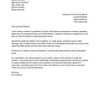 Complaint Letter To Landlord