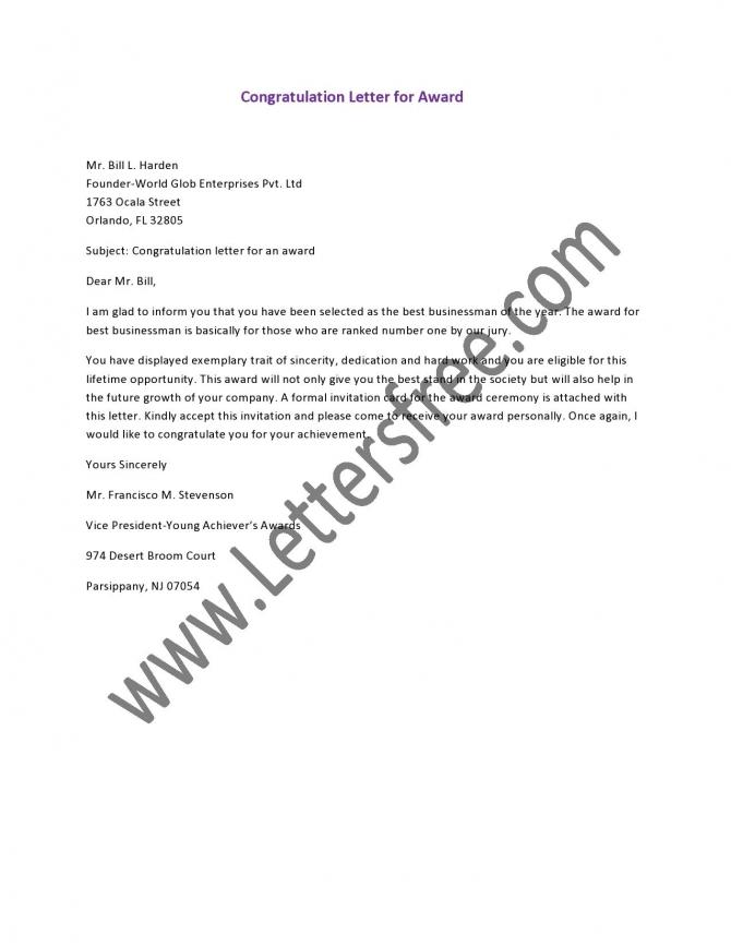 Congratulation Letter For Award