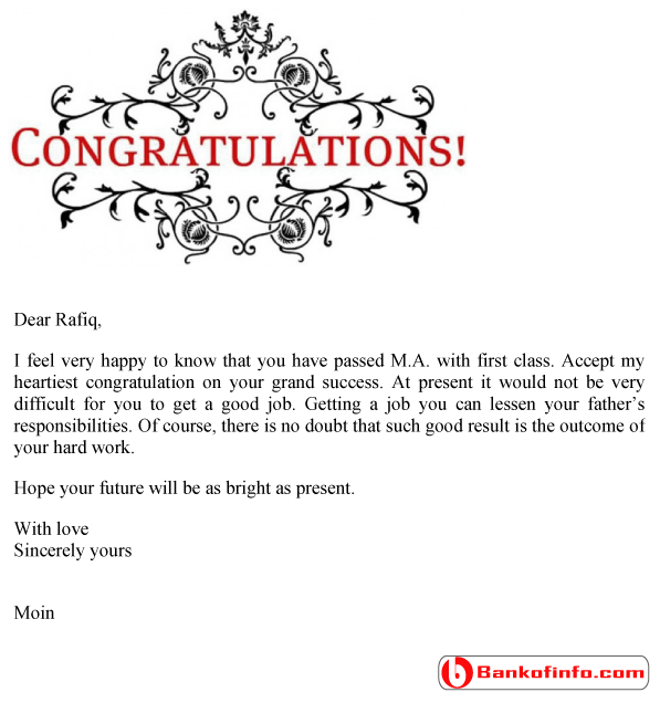 Congratulation Letter Sample  Format  Template  Example