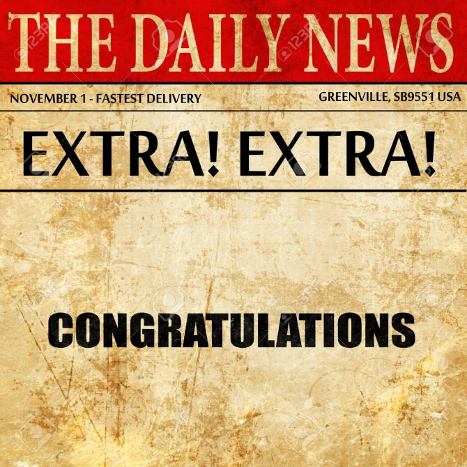 Congratulations  Newspaper Article Text Stock Photo  Picture And