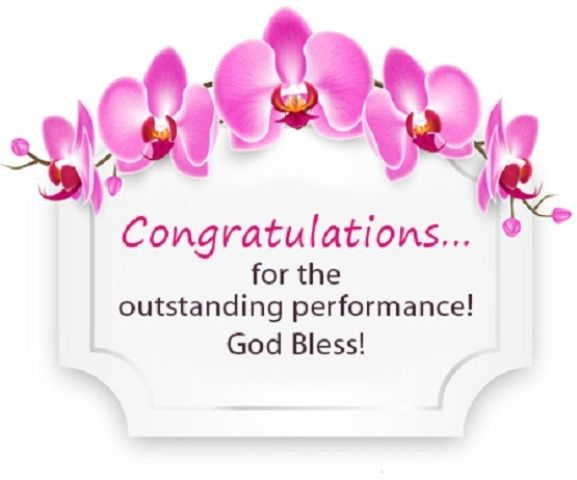 Congratulations For The Outstanding Performance