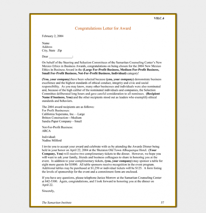 Congratulations Letter Template   Examples