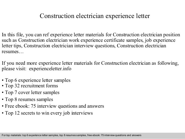 Construction Electrician Experience Letter