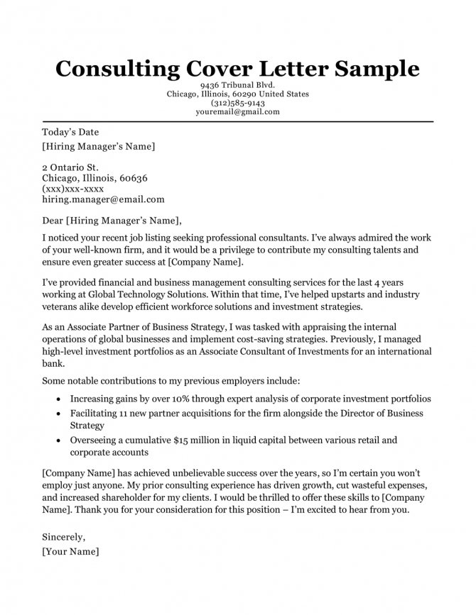 Consulting Cover Letter Sample   Writing Tips