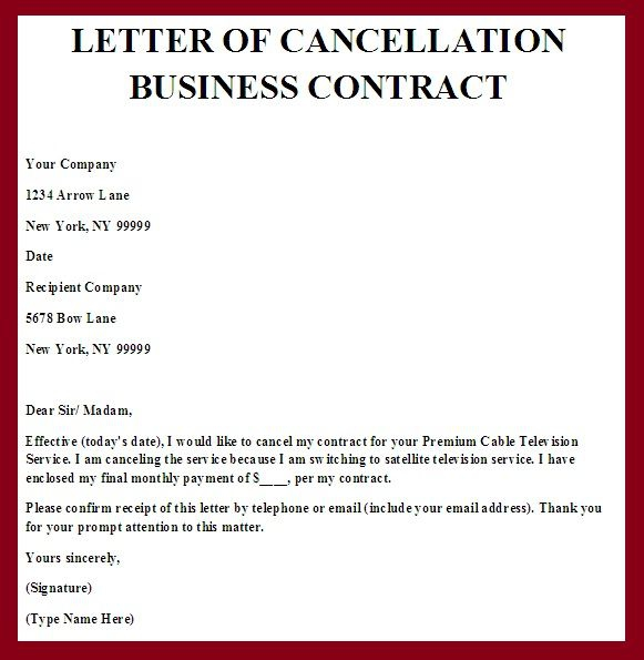 Contract Termination Letter