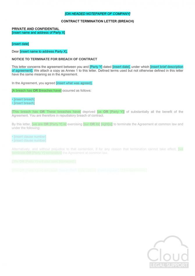 Contract Termination Letter Breach