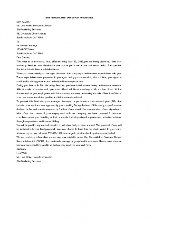 Contract Termination Letter Template Due To Poor Performance