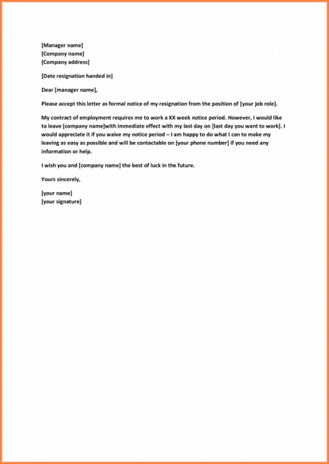 Costume  Resignation Letter With Request To Reduce Notice Period