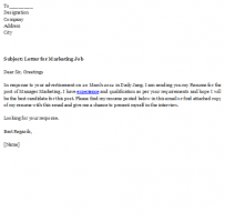Job Application Letter To Marketing Manager