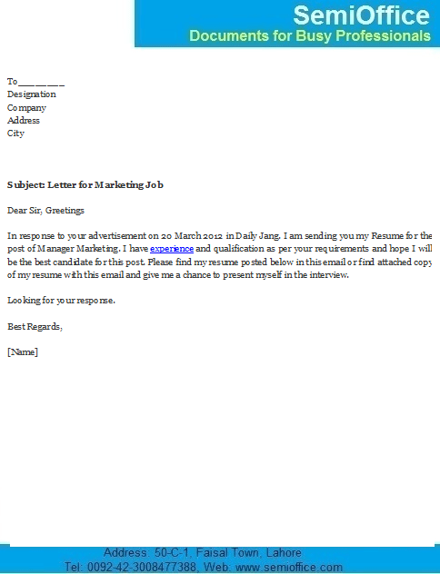 Covering Letter For Marketing Manager Job Application
