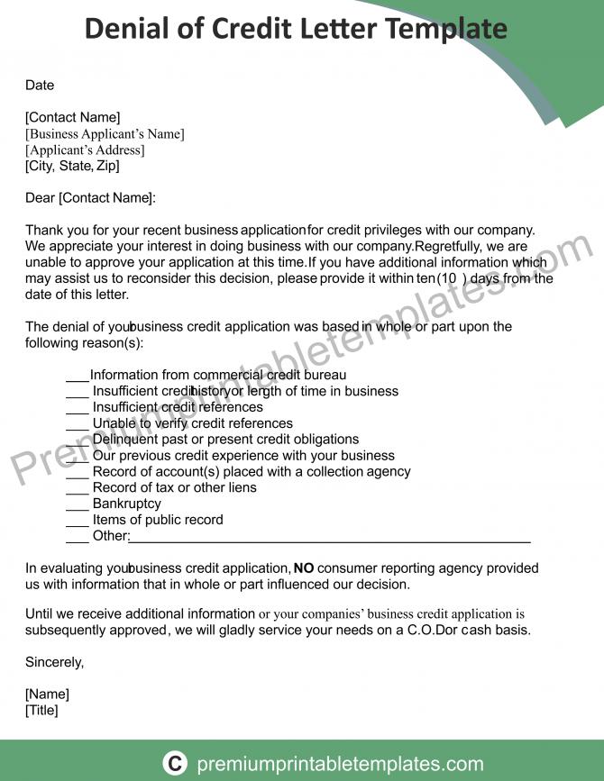 Credit Denial Letter