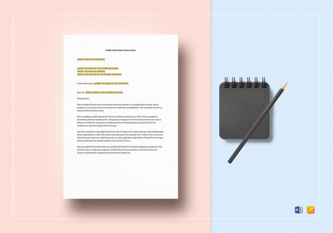 Credit Information Cover Letter Template In Word  Apple Pages