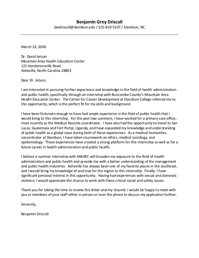 Davidson College Cover Letter Guide