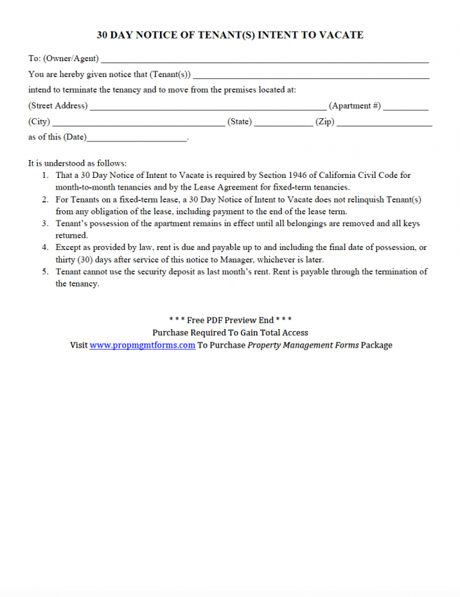 Day Notice Of Tenants Intent To Vacate Pdf